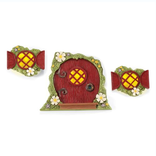 Enchanted Guardians Lit Tree Red Door & Windows Set